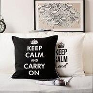 MANTIENI LA CALMA E VAI AVANTI Cuscino Nero Bianco Federa Cuscino Creativo Lettera Stampa Tiro Cuscino Divano Cuscino Decorazione