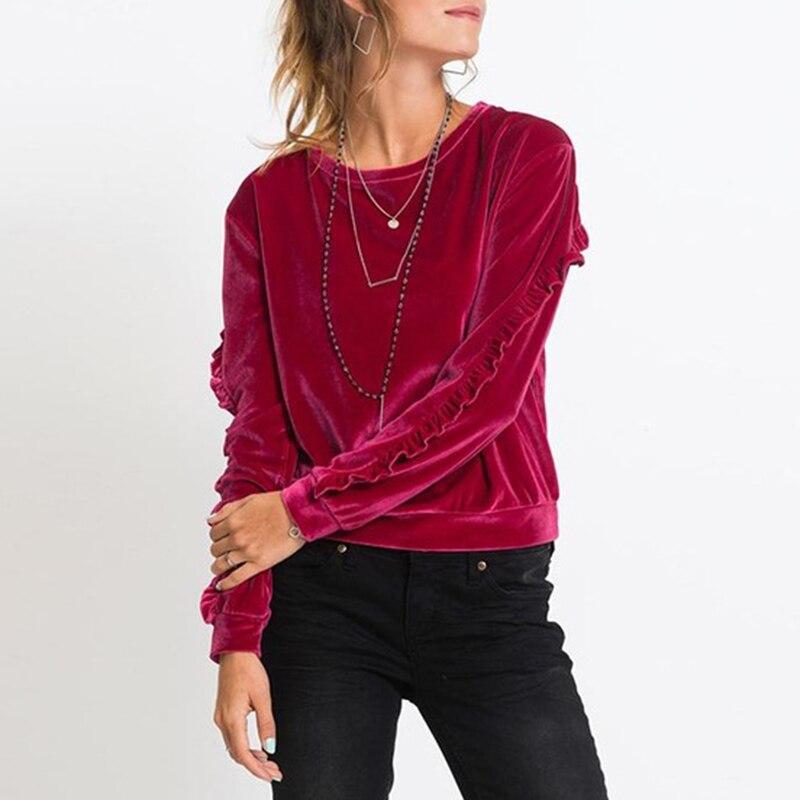 Herbst Mode Hoody Frauen Samt Sweatshirt Beiläufige Lange Rüschen Hülse Pullover Kausal Tops WS3818X