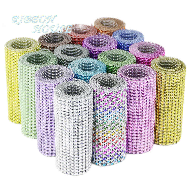 1 meter Rhinestone Roll Tape Tulle Crystal Mesh Wrap Ribbons Cake Wedding Decoration Glitter Charming Bling Diamond
