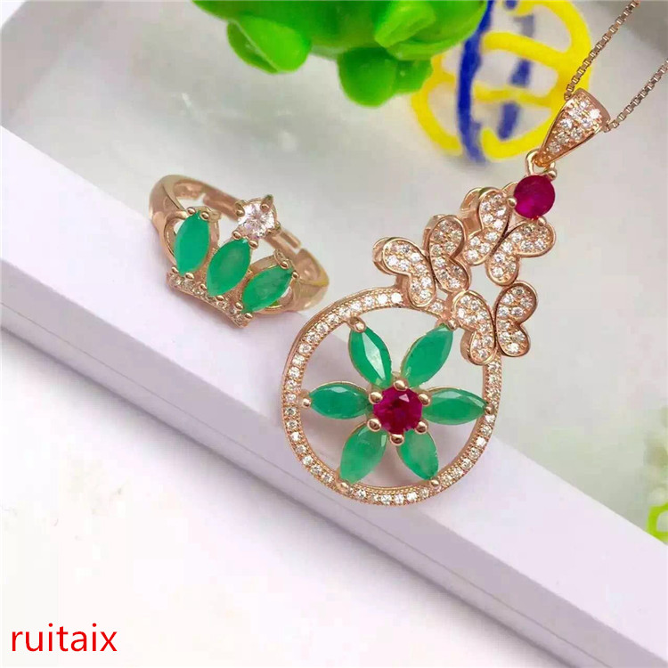KJJEAXCMY boutique jewels 925 Sterling silver natural emeralds necklace inlaid jewelry ladys birthday jewel pendant dandelionKJJEAXCMY boutique jewels 925 Sterling silver natural emeralds necklace inlaid jewelry ladys birthday jewel pendant dandelion