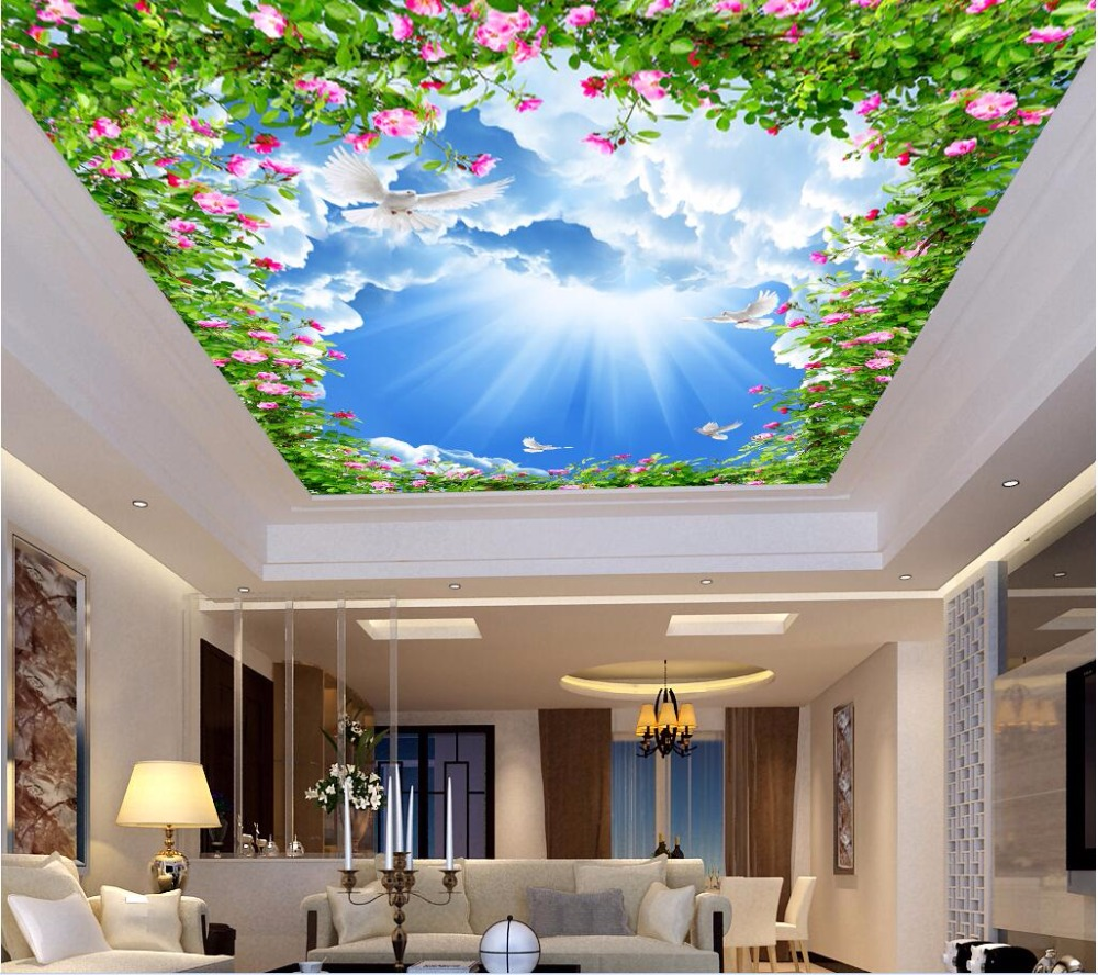 Custom Photo Non Woven 3d Ceiling Murals Wallpaper Flowers
