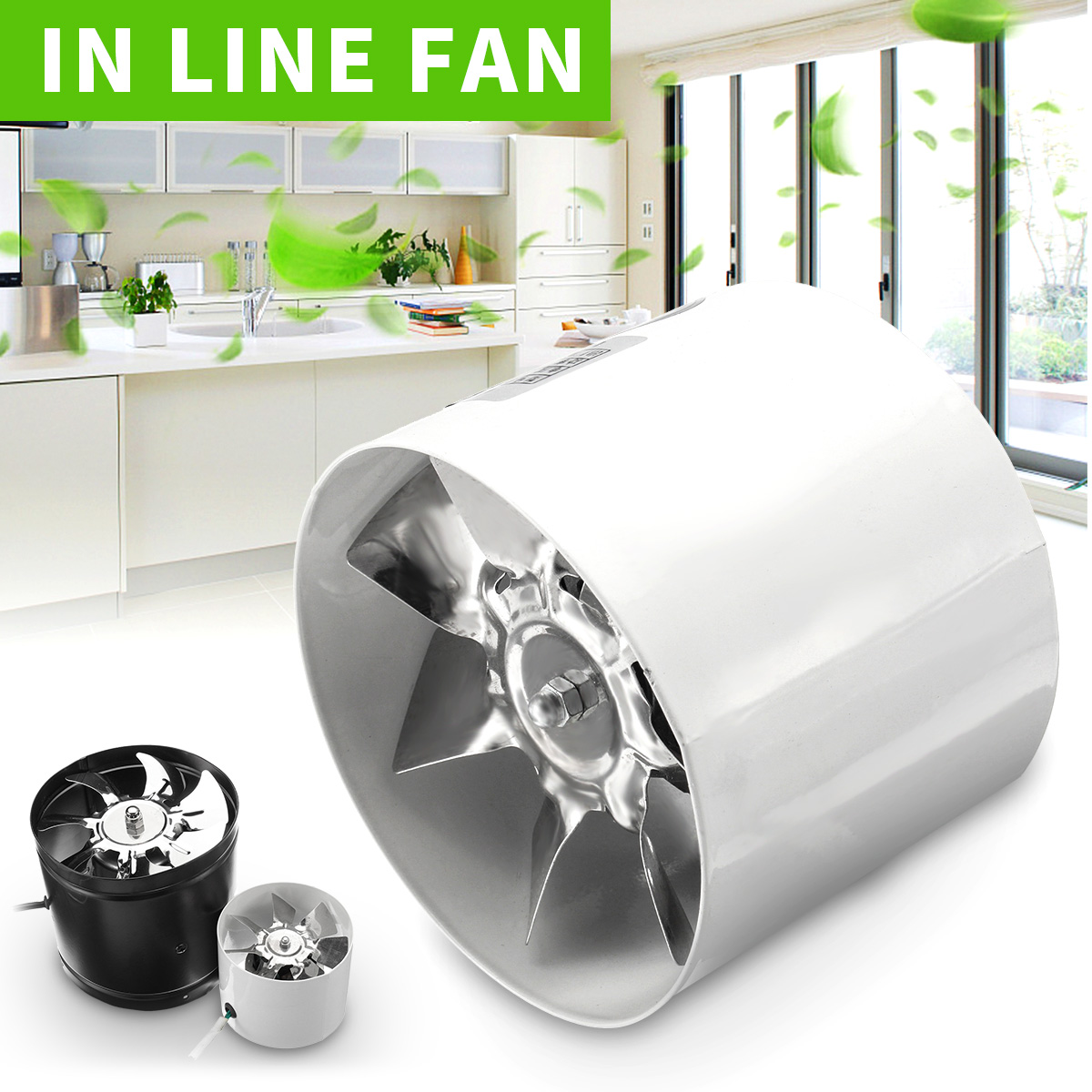 4/6inch 1080 m3/h In Line Fan Hydroponic Green Air Input Grow Cleaning Kitchen Ventilator Fan Bathroom In Line Air Blower Fan outdoor bbq barbecue fan air blower 4 x aa