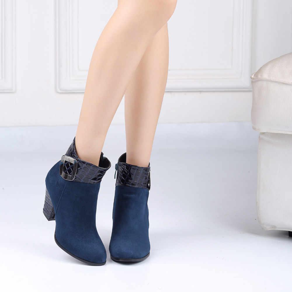 YOUYEDIAN Kadın Ayakkabı Yılan Tahıl Yan Fermuar Martin Çizmeler Toka Kayış günlük çizmeler ayakkabı kadın witte laarzen dames 2018 #25