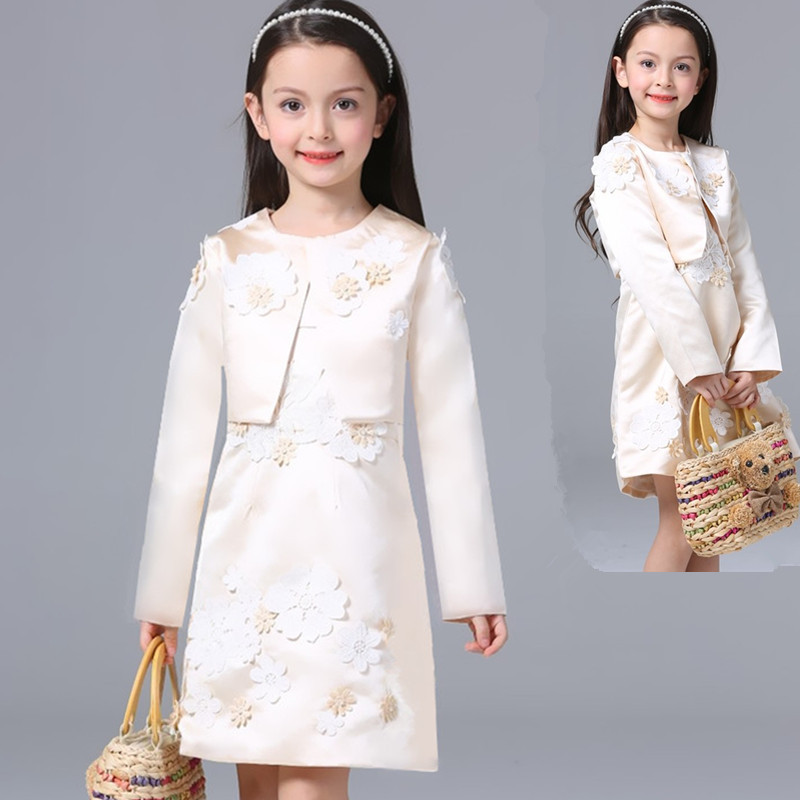 ФОТО Autumn And Winter New Pattern Girls Princess Suit Flower Full Dress Foreign Trade Dress Long Sleeve Loose Jacket
