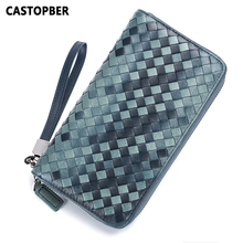 Men Sheepskin Leather Genuine Wallet Hand-woven Wrist Clutch Card Holders Multi-functional Long Zipper Purse Business