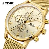 Mens relógios de luxo de ouro de aço inoxidável relógio De Quartzo Fino Multi-função cronógrafo esportes relógio homem relógio relogio masculino