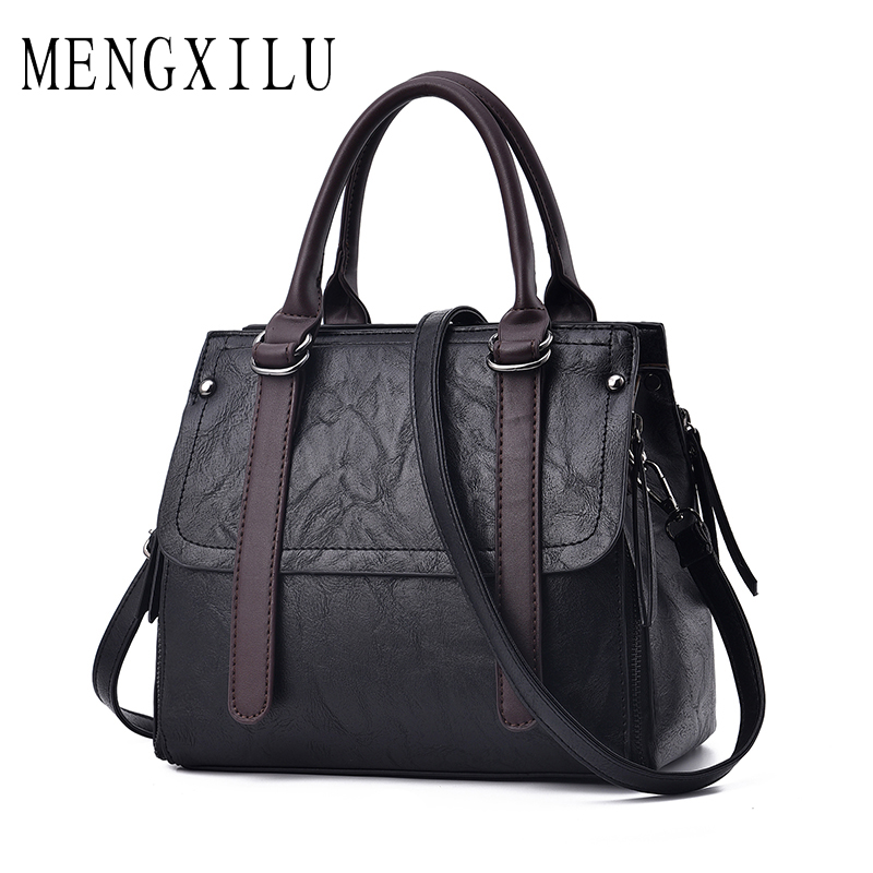 MENGXILU Fashion Solid Women Handbags Big Crossbody Bags For Women Bag High Quality Leather Handbags Ladies Hand Bags Tote Bag sannen 7l double decker cooler lunch bags insulated solid thermal lunchbox food picnic bag cooler tote handbags for men women