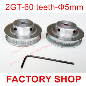 2 шт. 60 зубьев диаметр 5 мм GT2 зубчатый шкив подходящая ширина 6 мм 2GT ремень 3D Бесплатная доставка