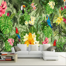 beibehangCustom large-scale high-definition beautiful hand-painted parrot tropical rainforest plant cartoon background wallpaper