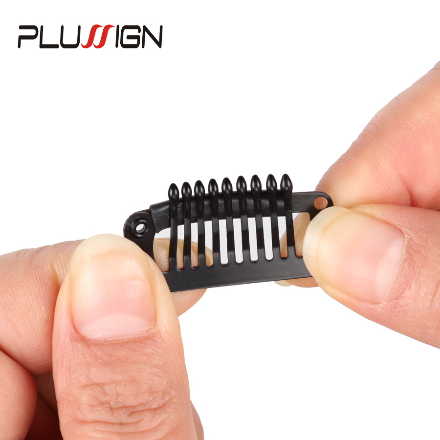 Best Wig Clips Brown Beige Black 10Pcs Wholesale Stainless Steel Metal Wig Combs Hair Extension Clips For Women U And Wire 32mm