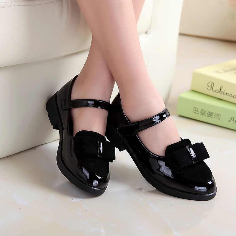 Kızlar deri ayakkabı Çocuklar için düğün elbisesi Prenses okul ayakkabısı Çocuk Yaz Yay-düğüm Siyah Öğrenci Sandalet Kore Moda