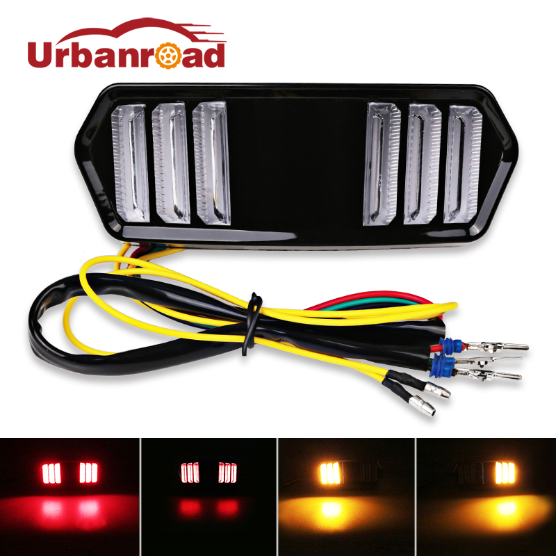 Urbanroad 12v Led Motorcycle Tail Light With Turn Signal Motorbike Tail Light Signals Stop Rear Brake Taillight For Honda цена