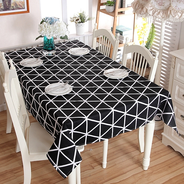 Black White Chessboard Decorative Table Cloth Cotton Rectangle European  Tablecloths Dining Table Cover For Kitchen Home Decor