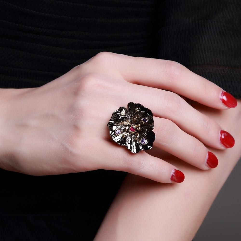 Lotus Flower Gothic Engagement Ring - Pricole