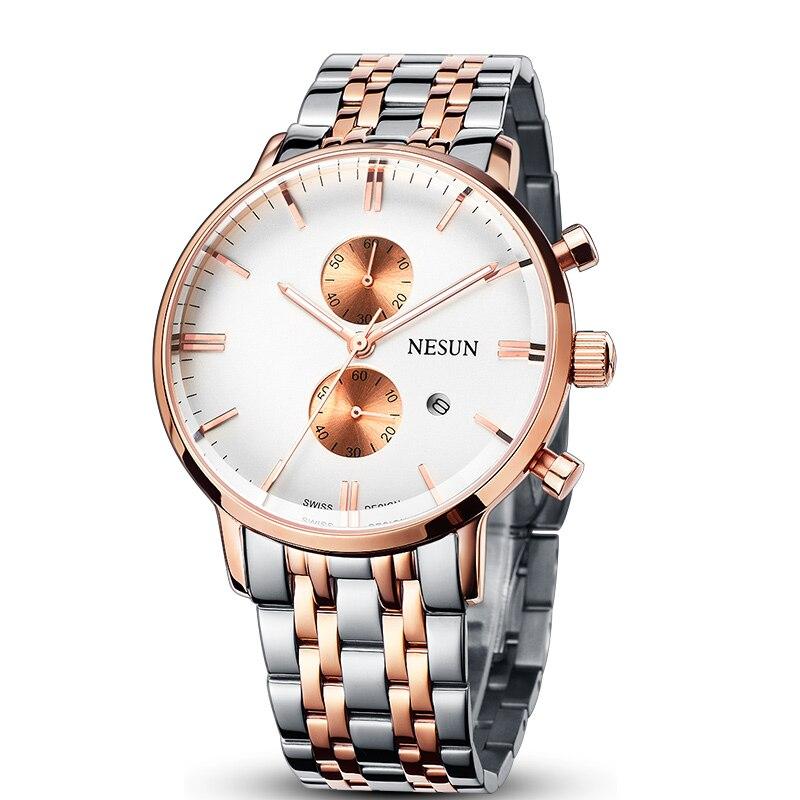 все цены на Nesun Men's Watches Luxury Brand Citizen Quartz movement Watch Men Chronograph Wristwatches Waterproof reloj hombre N8601-S4 онлайн