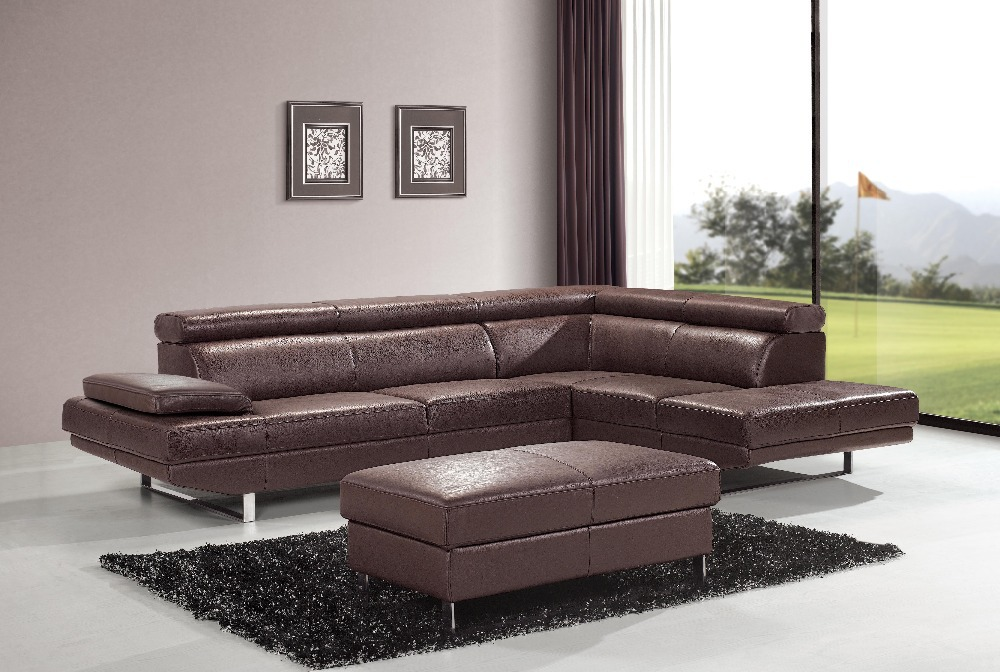 Elegant And Rational Leather Sofa Livingroom Sofa Sectional Headrest Adjustable Wholesale And