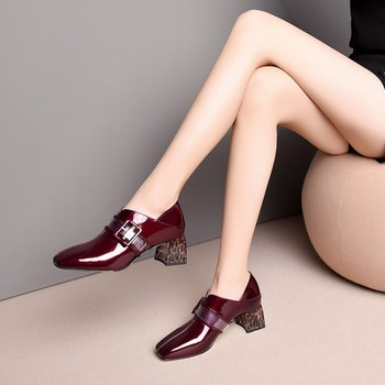 MLJUESE 2019 women pumps Soft Cow leather buckle strap black color Rome style autumn spring square toe high heels pumps size 43