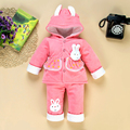 2016 Kid baby Girls christmas snowsuit parkas clothing set winter coat children rabbit hooded thicken newborn girl outfits