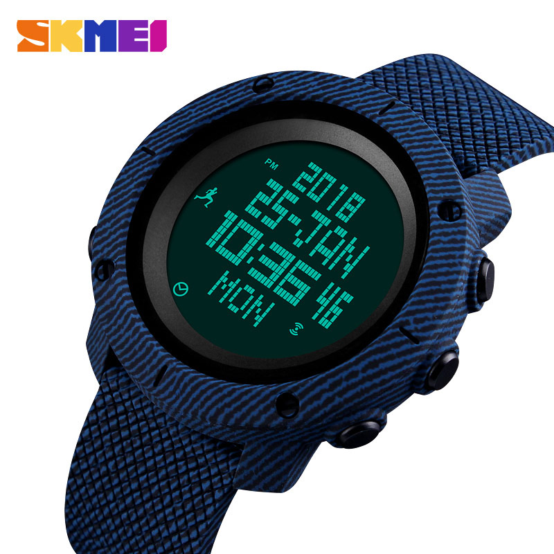 SKMEI Mens Watches Top Brand Luxury Pedometer Calories Electronic Digital Watch Men Waterproof Countdown Compass Sports Watches outdoor sports watches men skmei brand countdown led men s digital watch altimeter pressure compass thermometer reloj hombre