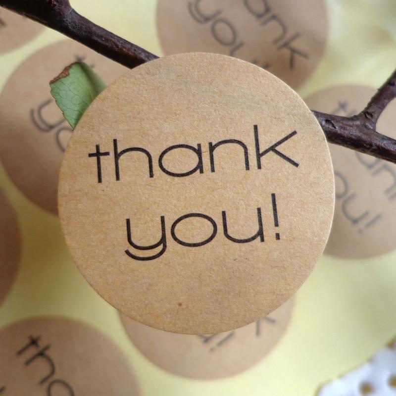 120Pcs Adhesive Thank You Circle Handmade Cake Packaging Sealing Label Kraft Sticker Baking DIY Gift Box Round Stickers M1192