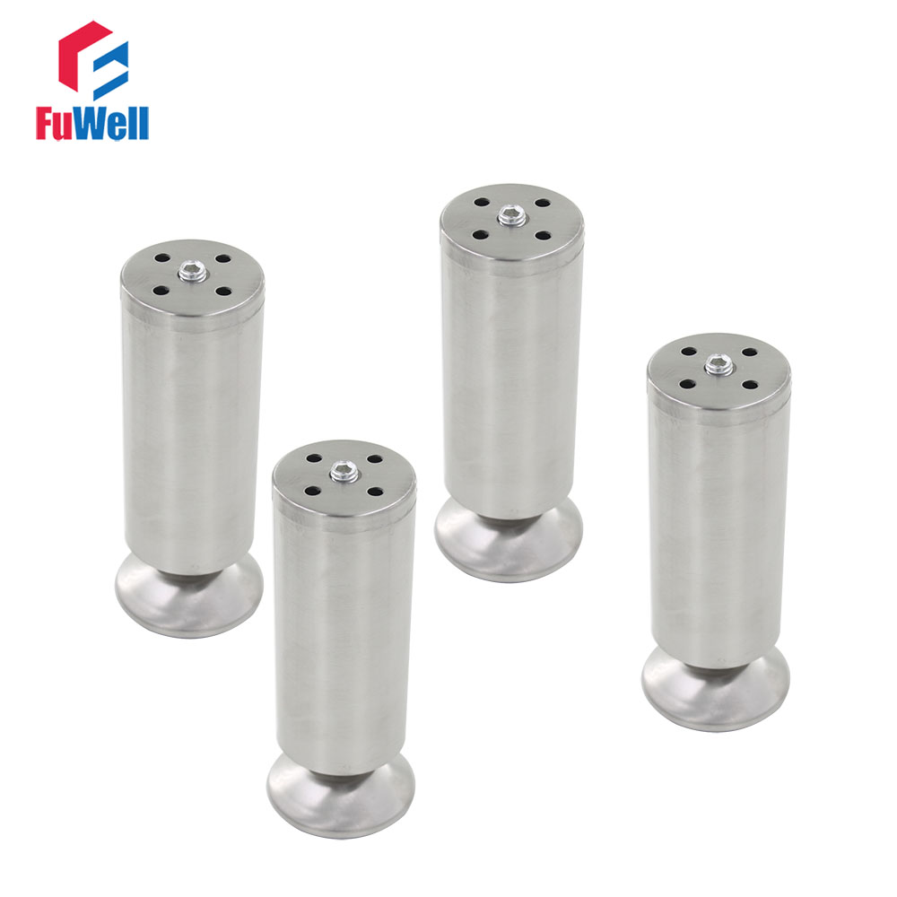 4pcs 180mm Height Furniture Legs Adjustable 10-15mm Cabinet Foot Silver Tone Stainless Steel Table Bed Sofa Leveling Feet bqlzr 150x63mm square shape silver black adjustable stainless steel plastic furniture legs sofa bed cupboard cabinet table bench