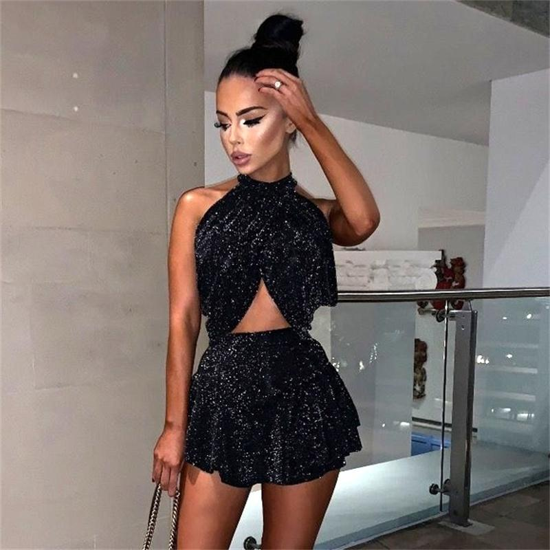 <font><b>Women</b></font> Black Shinny <font><b>Two</b></font> <font><b>Piece</b></font> Summer <font><b>Sets</b></font> Short <font><b>Skirts</b></font> Crop Top Sleeveless Halter Sexy <font><b>Women</b></font> <font><b>Sets</b></font> Party Elegant Sexy Lady <font><b>Sets</b></font> image
