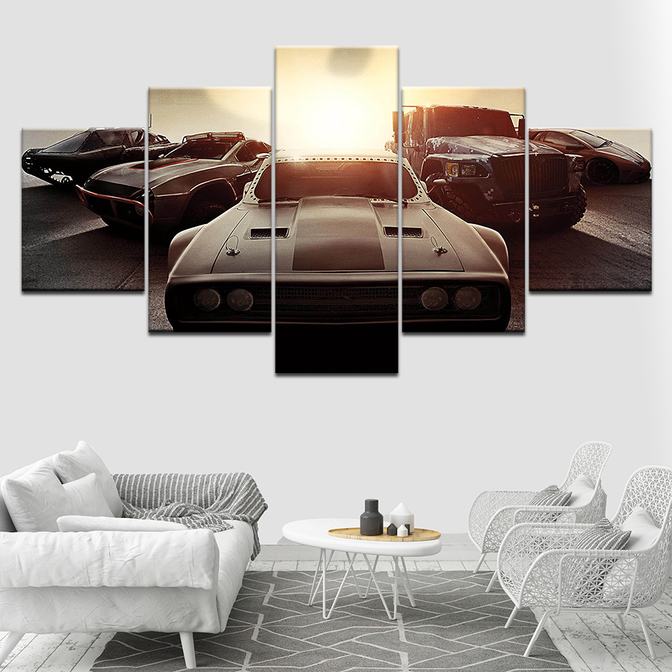 Canvas Painting Speed rush response 8 Sport car Wall Art Pictures 5 Pieces Modular Wallpapers Poster Print for living room Decor