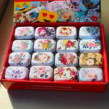 New Arrival 12 Pieces/lot Vintage Flower Printing Mini Tin Box 5.5x3.8x2.4cm Wedding Favor Candy Rec