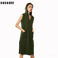 2018 winter dress wool sweaters and auntmun women knitted Dresses Pullovers sleeveless dress Warm Female Hooded