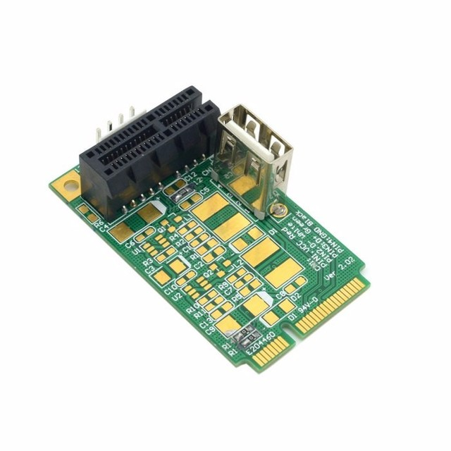 Mini PCI E to PCI E x1 pci Express 1X Extension Cord mini pcie to pcie Adapter Card with USB 2.0 Riser Card-in Add On Cards from Computer & Office ...
