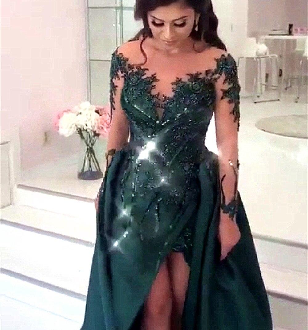 Green Color Satin Long Prom Dresses 2020 Appliques Crystal Formal Evening Dress Beading Vestido De Festa Sequined Party Dress