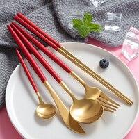 Elegant Girly Red Gold Silver Tableware Set 304 Stainless Steel Cutlery Set Golden Knife Forks Western
