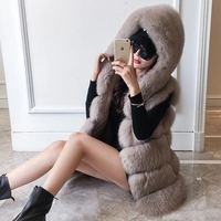 Winter Real Fox Fur Vest Women Waistcoat Genuine Leather Thick Warm Fox Fur Gilets With Hood Female Natural Fox Fur Hooded Vests