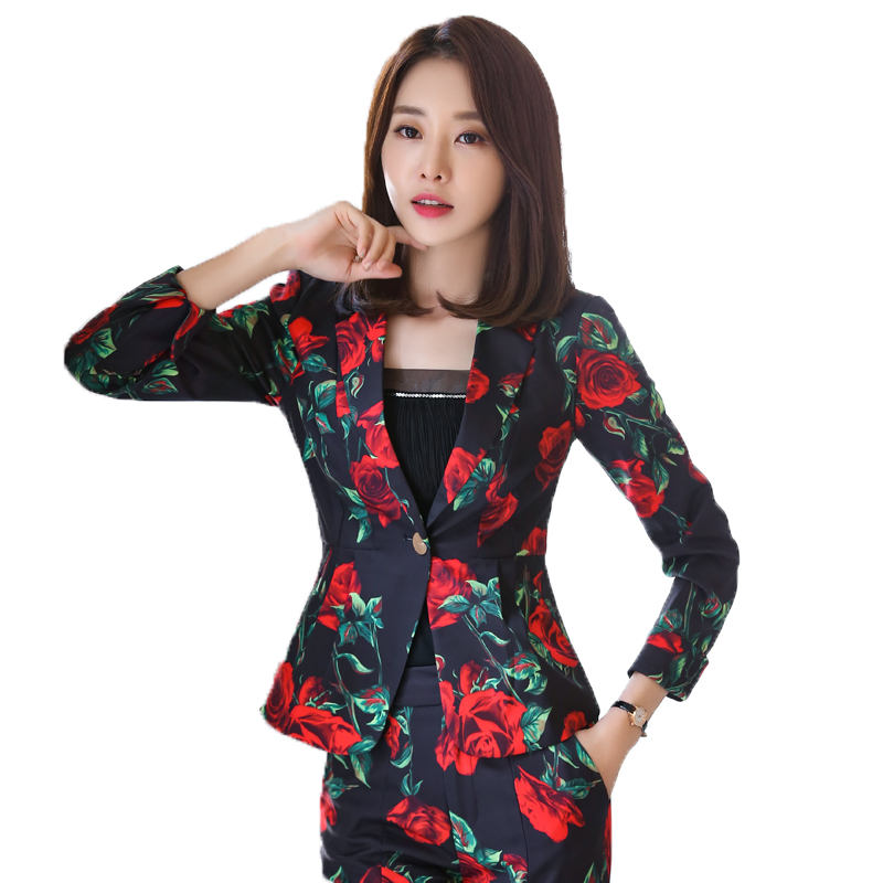 2019 Spring Blazer Feminino Stand Neck Design Blue Korean Print Slim Women Office Work Suit Female Jackets Plus Size 3xl Back To Search Resultswomen's Clothing