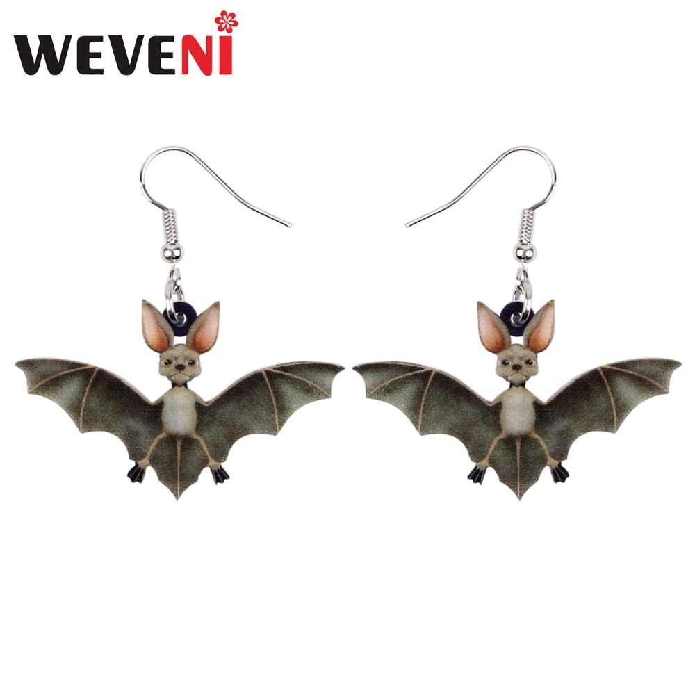 WEVENI Accessories Acrylic Halloween Brincos Bat Earrings Drop Dangle Cute Animal Jewelry For Women Girls Bijoux Dropship Female