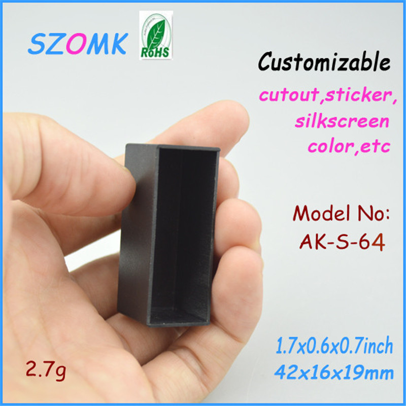 100pcs lot 42 16 19 mm szomk plastic enclosure electronics black abs case for pcb