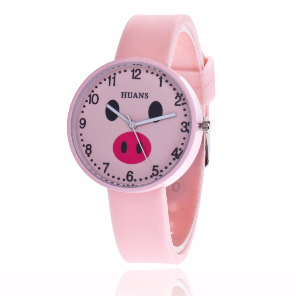 A New Jelly Children's Watch Cartoon Cute Little Girl Piggy Student Couple Tiny Fresh Quartz Watch