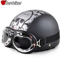 2017 Cool Skull Open Face Half Motorcycle Helmet & Goggles & Visor Motocross Mask