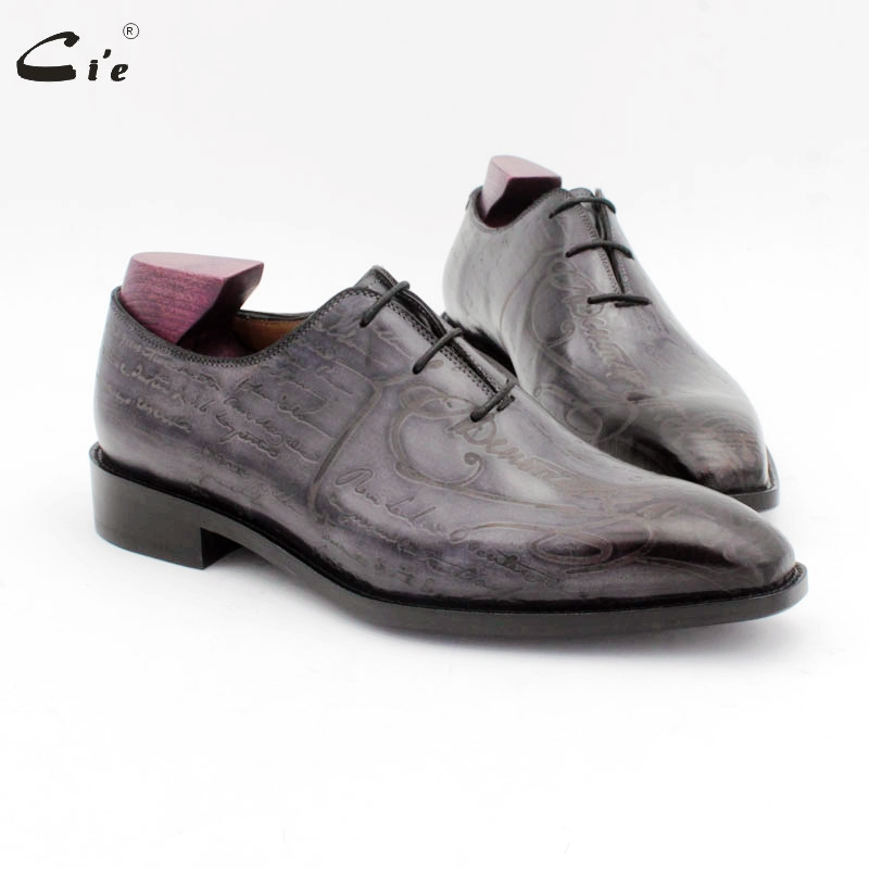 cie square toe carving design gray whole cut men dress shoe genuine full grain calf leather