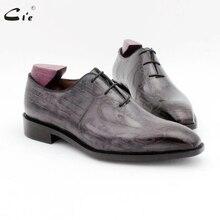 Cie cuadrado del dedo del pie de diseño gris todo corte vestido de los hombres zapato genuino grano completo cuero de becerro de cuero de los hombres zapatos de trabajo oxford OX725