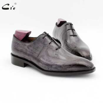 cie square toe carving design gray whole cut men dress shoe genuine full grain calf leather men leather work shoe oxford OX725 - DISCOUNT ITEM  34% OFF All Category