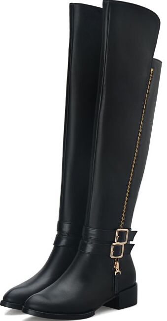 Women Autumn Winter Low Heel Genuine Leather Buckle Side Zipper Round Toe Fashion Over The Knee Boots Size 34-43 SXQ0930 women autumn winter low heel genuine leather rivets round toe back zipper buckle fashion martin boots size 34 39 sxq0730