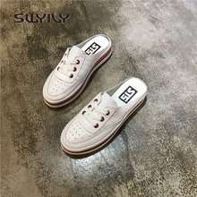 SWYIVY Women s Half Slippers Genuine Leather Flat 2018 Spring Summer Female  Casual Shoes White Slides Platform Woman Slippers e96c35c586da