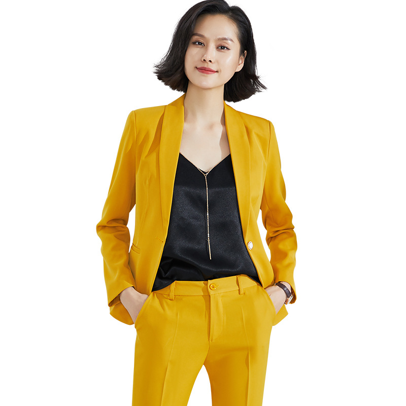 Women's suit 2019 autumn new casual career West slim body slim pants two sets of temperament large size women's clothing