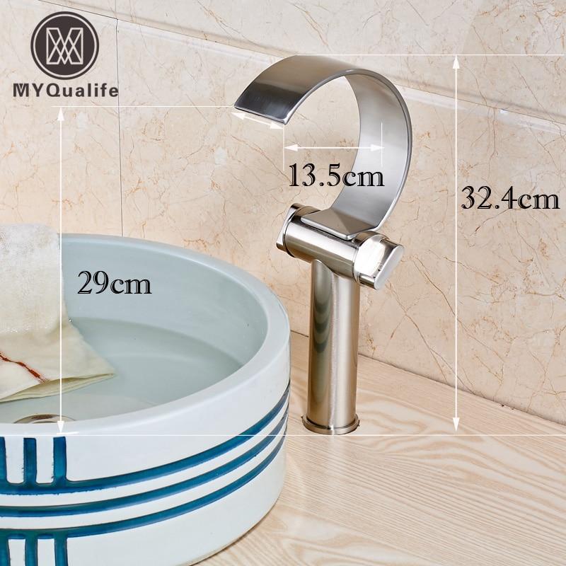 Dual Handles Waterfall Countertop Basin Sink Taps Deck Mounted Bathroom Sink Washing Basin Mixer Taps все цены