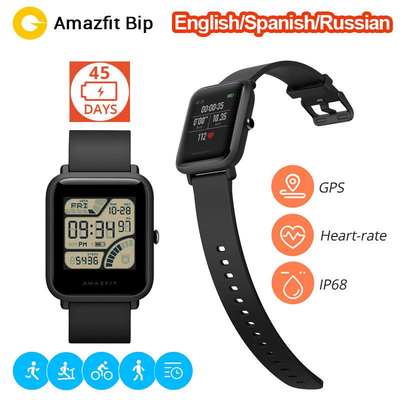 English Russian Spanish Amazfit Bip Smart Watch Huami Heart Rate GPS Smartwatch Pace Lite 45Days Battery