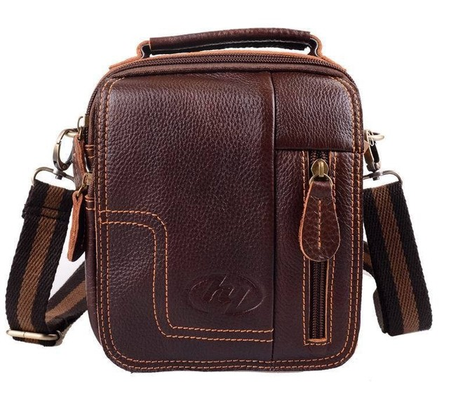 Men's Genuine Leather Vintage Shoulder Messenger Bag male Casual multifunction Small Crossbody Flap hangbag man Messenger Bags 1