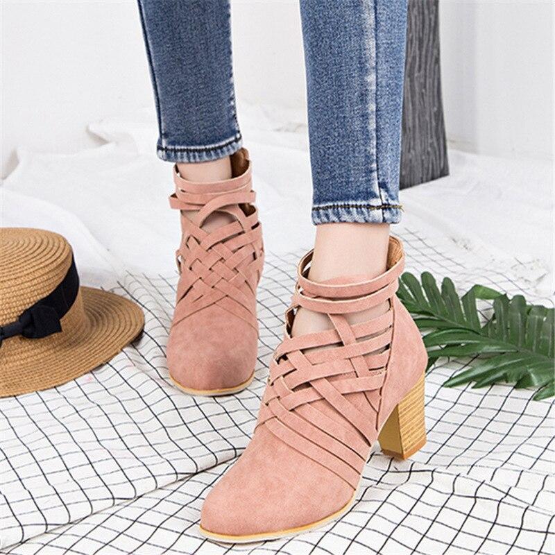 POADISFOO женские сапоги весна 2018 бахрома Большие размеры 35–43 каблуки кожаные ботинки круглый носок ботильоны с поперечными ремешками HYKL-CK900 ...