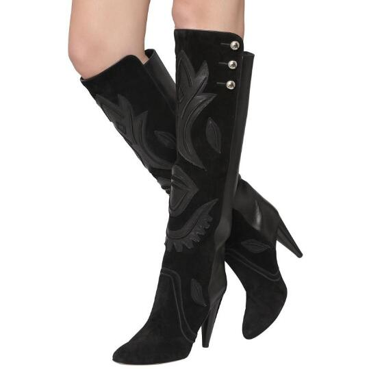 2017 Fashion Women Mid Calf Boots HOT Spike High Heels Pointed Toe Appliques Nubuck Leather Wholesales Retail Boots