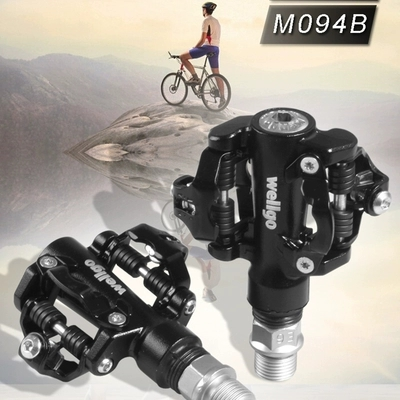 Wellgo M094B 9/16 SPD Shimano Cleat Compatible Sealed Bearing Pedals Black